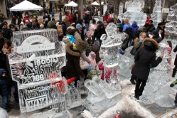Ice sculptures made out of 30,000 pounds of ice.